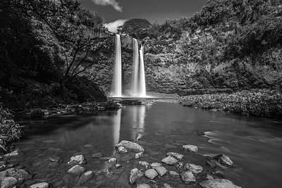 Wailua Falls Kauai Bw Print by Pierre Leclerc Photography