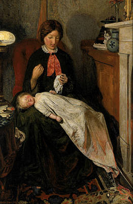 Waiting - An English Fireside Of 1854-55 Print by Ford Madox Brown