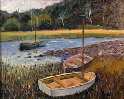 Maine Painting - Waiting Boats, Maine by Richard Nowak