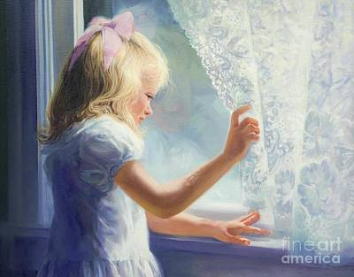 Girl With A Pink Dress Painting - Waiting For Grandma by Laurie Hein