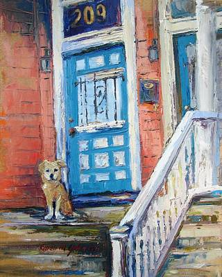 Dog At Door Painting - Waiting For His Master by Karen Mayer Johnston
