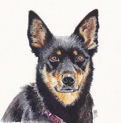 Kelpie Painting - Waiting For Instructions by Leonie Bell
