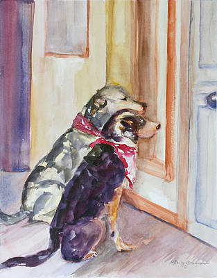 Dog At Door Painting - Waiting For Mary by Nancy Brennand