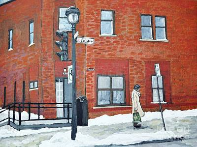 Montreal Winter Scenes Painting - Waiting For The 107 Bus by Reb Frost