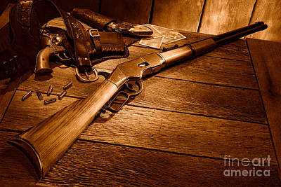 Old Western Photograph - Waiting For The Gunfight - Sepia by Olivier Le Queinec