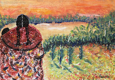 Oaxacan Painting - Waiting by Sonia Flores Ruiz