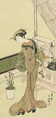 Waitress At The Owariya Teahouse Print by Ippitsusai Buncho