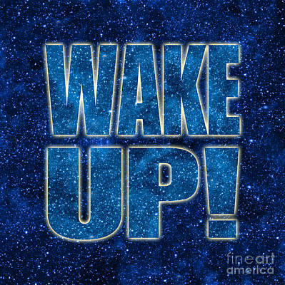 Wake Up Space Background Print by Ginny Gaura