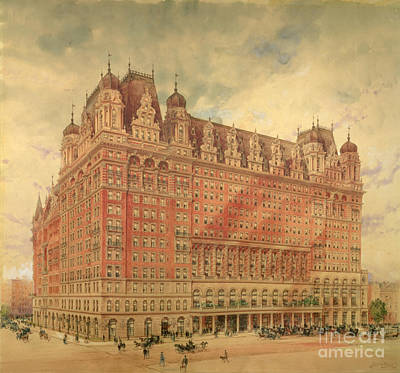 On Paper Painting - Waldorf Astoria Hotel by Hughson Frederick Hawley