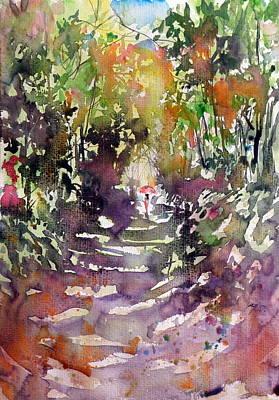 Umbrella Painting - Walk Alone In Forest by Kovacs Anna Brigitta
