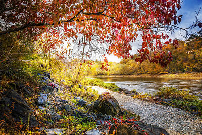 Walk Along The River Print by Debra and Dave Vanderlaan
