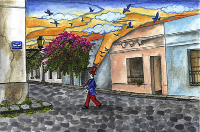 Old Town Drawing - Walking By The Old City by Graciela Bello