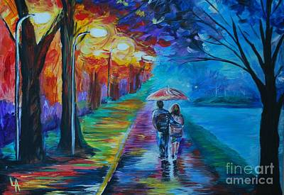 Nightime Painting - Walk By The Lake  by Leslie Allen