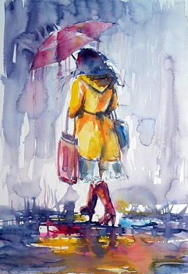 Umbrella Painting - Walk In Rain II by Kovacs Anna Brigitta