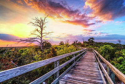 Walk Up Into Sunset Print by Debra and Dave Vanderlaan