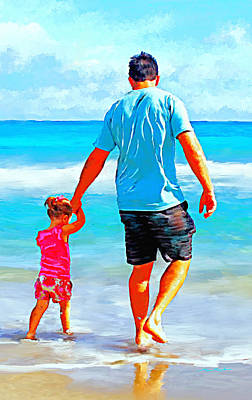 Walkin In The Surf With Dad Print by Tim Tompkins