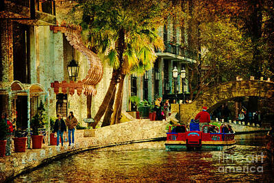 Walking Along The Riverwalk Print by Iris Greenwell