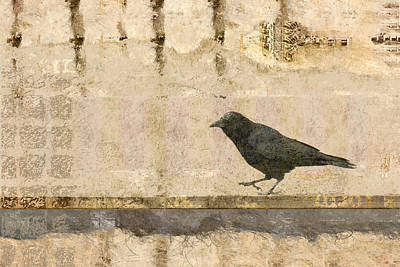Crow Mixed Media - Walking Crow by Carol Leigh