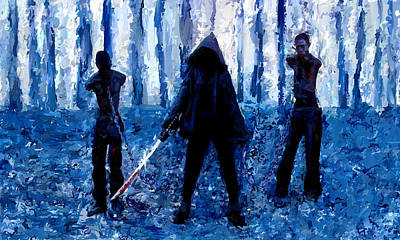 Zombies Painting - Walking Dead Michonne Art Painting Signed Prints Available At Laartwork.com Coupon Code Kodak by Leon Jimenez