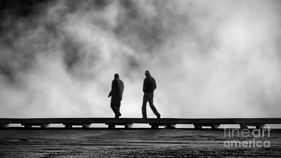Yellowstone Digital Art - Walking Geyser Boardwalk by Jerry Fornarotto