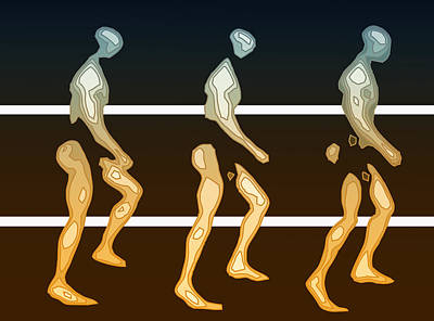 Modern Digital Art Drawing - Walking In Line by Joaquin Abella