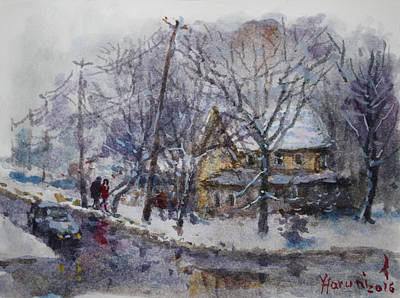 Winter Trees Painting - Viola And I Walking In The Winter by Ylli Haruni