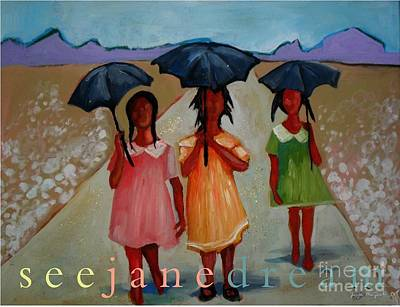 Black Women Painting - Walking In The Sun by Janie McGee