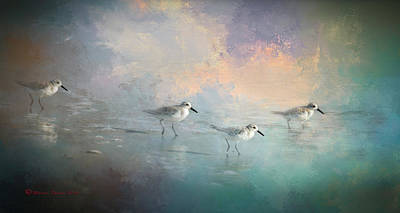 Sandpiper Digital Art - Walking Into The Sunset by Marvin Spates