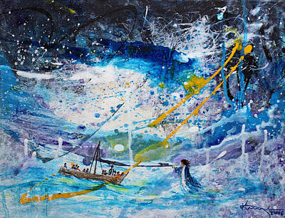 King James Bible Painting - Walking On The Water by Kume Bryant
