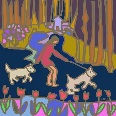 Walking The Dog Digital Art - Walking The Dogs by J Mae