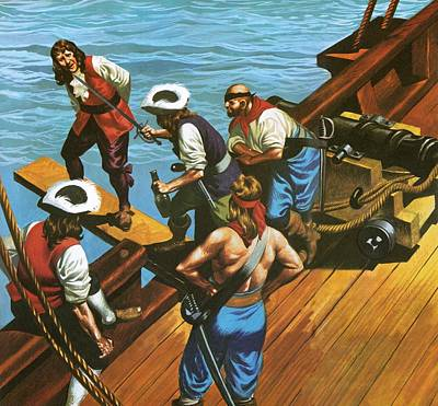 Pirate Ships Painting - Walking The Plank by Ron Embleton