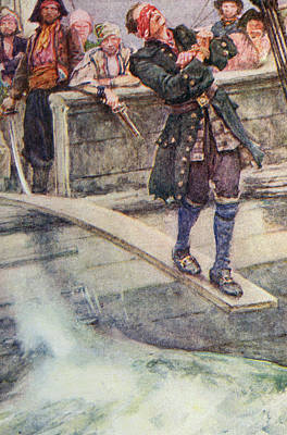 Walking The Plank Print by Walter Stanley Paget