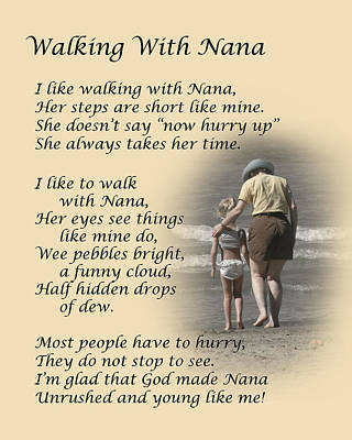 Walking With Nana Print by Dale Kincaid