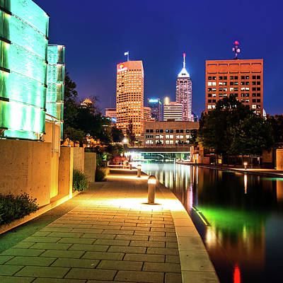 Lighted Walkway To The Indianapolis Indiana Skyline Print by Gregory Ballos