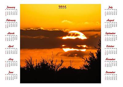 Sunset Photograph - Wall Calendar 2016 by Zina Stromberg