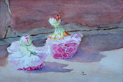 Hollyhock Painting - Wall Flowers by Jenny Armitage