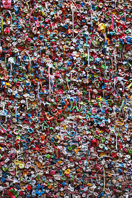 Messy Photograph - Wall Of Chewing Gum Seattle by Garry Gay
