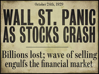 Wall Street Crash 1929 Newspaper Print by Mindy Sommers