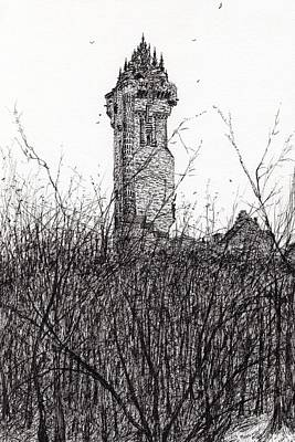 Pen And Ink Tree Drawing - Wallace Monument by Vincent Alexander Booth