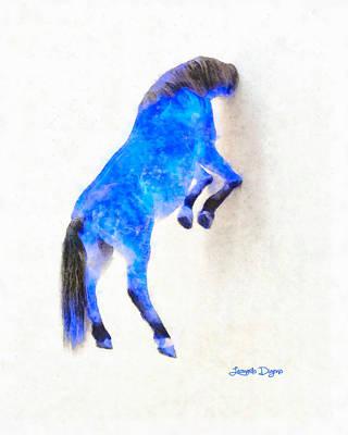 Bunting Digital Art - Walled Blue Horse - Da by Leonardo Digenio