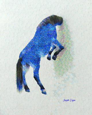 Futuristic Painting - Walled Blue Horse - Leonid Afremov Style - Pa by Leonardo Digenio