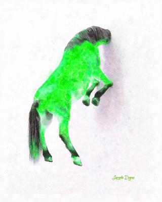 Shadows Painting - Walled Green Horse - Pa by Leonardo Digenio