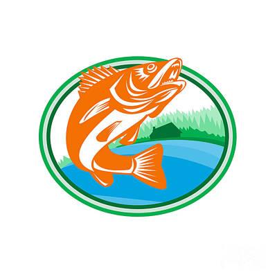 Pickerel Digital Art - Walleye Fish Lake Cabin Oval Retro by Aloysius Patrimonio