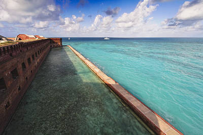 Walls And Moat Of  Fort Jefferson Print by George Oze