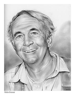Hollywood Drawing - Walter Brennan by Greg Joens