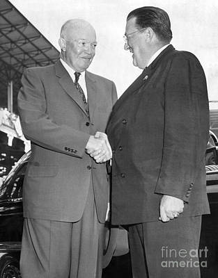 Ebbets Field Photograph - Walter O'malley Greets President Dwight D. Eisenhower To Brooklyn Dodgers' Ebbets Field. 1957 by Barney Stein