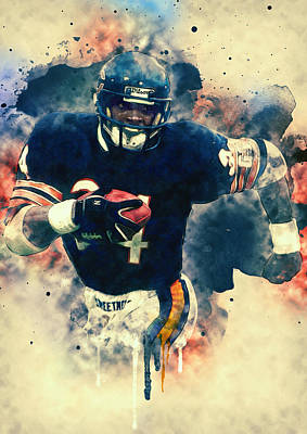 Soldier Field Painting - Walter Payton by Taylan Soyturk