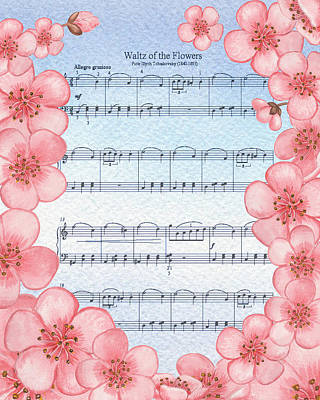 Waltz Of The Flowers Dancing Pink Print by Irina Sztukowski