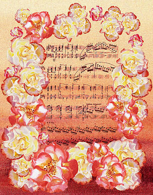 Waltz Of The Flowers Dancing Roses Print by Irina Sztukowski