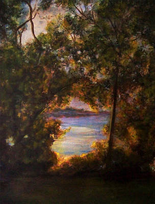 Lakefront Painting - Wamplers Lake by Art By Lisabelle